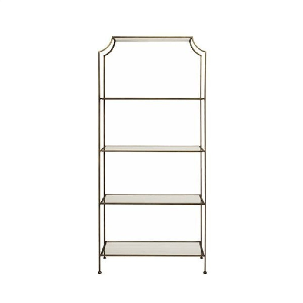 "Painted Bronze Etagere With Clear Glass Shelves Top Shelf 21.5"" H Remaining Shelves 17.5"" H"