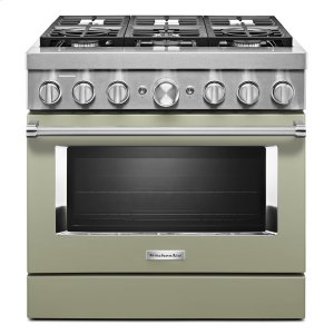 KitchenaidKitchenAid® 36'' Smart Commercial-Style Dual Fuel Range with 6 Burners Avocado Cream