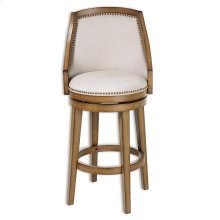 Charleston Wood Counter Stool with Putty Upholstered Nail head Trim Swivel-Seat and Acorn Frame Finish, 26-Inch