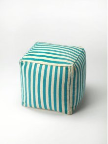 Simple and functional - this blue and white striped pouffe is filled with high density thermocol beans for durability and comfort with the versatility to be moved from room to room, wherever extra seating is needed.