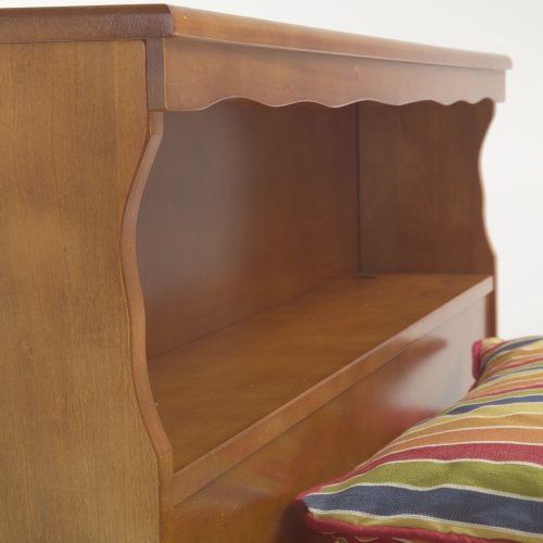 Barrister Wooden Headboard Panel with Flat Top Surface and Bookcase, Bayport Maple Finish, Twin