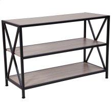 Sonoma Oak Wood Grain Finish Bookshelf with Metal Frame
