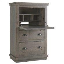 Armoire Desk - Distressed Dark Gray Finish