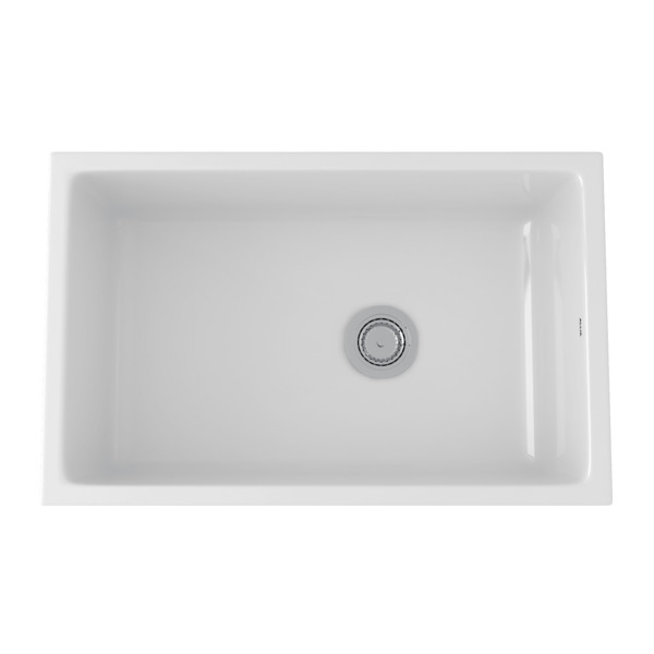 White Allia Fireclay Single Bowl Undermount Kitchen Sink