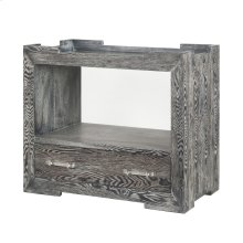Tray Top One Drawer Side Table In Black Cerused Oak With Nickel and Acrylic Hardware