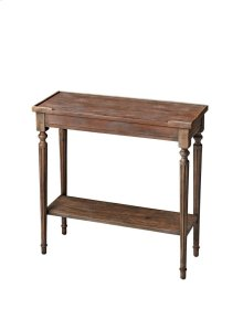 This Console Table showcases a fashion-forward finish sure to add distinction to an already well-furnished home. We call it Dusty Trail. The piece is crafted from solid rubberwood, birch veneers and wood products.