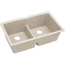 "Elkay Quartz Classic 33"" x 19"" x 10"", Equal Double Bowl Undermount Sink with Aqua Divide, Bisque"