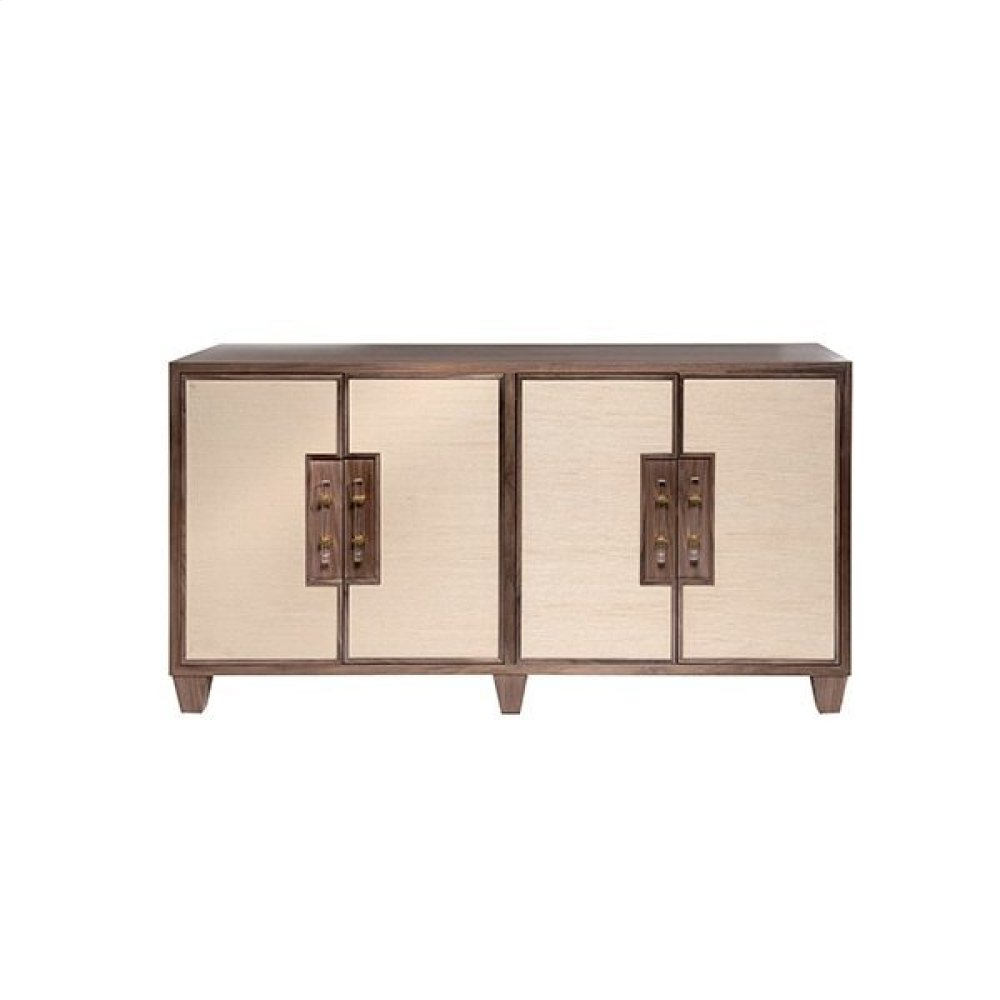 Four Door Cabinet With Inset Grasscloth & Acrylic Hardware - One Interior Removable Shelf