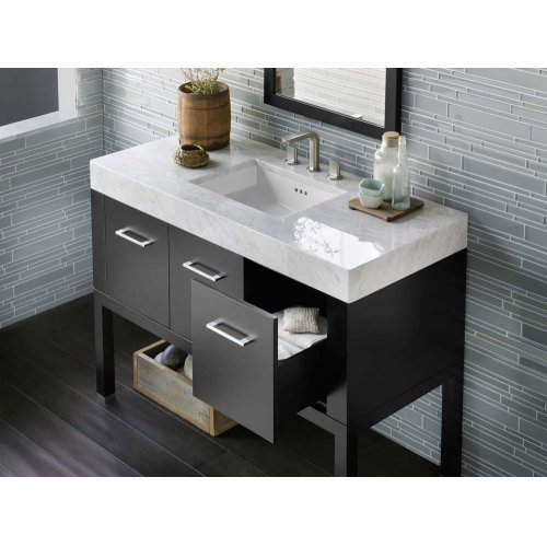 """WideAppeal™ 48"""" x 22"""" Marble Vanity Top in Carrara White - 4"""" Thick"""
