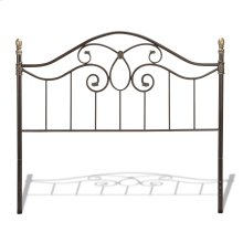 Dynasty Metal Headboard Panel with Camelback Arch and Soft Gold Highlighted Castings, Autumn Brown Finish, Queen