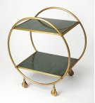 Build a home bar that's just as stylish as it is ideal for entertaining with this eye-catching cart. Founded atop four castered feet for easy mobility between the den and dining room, this piece features a circular frame crafted from iron with a striking Product Image