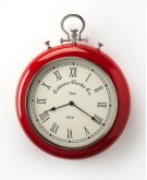 This wall clock is crafted in a red round shaped frame that features Roman numerals over a white face, and a sturdy handle. The clock can be placed on any wall and blends with a variety of decor. Makes a great gift. Product Image