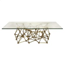 "Gold Leaf Iron Coffee Table Base With 36"" X 60"" Glass Top. Glass Is 3/8"" Thick With Simple Radial Edge."