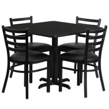 36'' Square Black Laminate Table Set with 4 Ladder Back Metal Chairs - Black Vinyl Seat