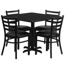 36'' Square Black Laminate Table Set with 4 Ladder Back Metal Chairs - Black Vinyl Seat
