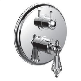 """1/2"""" Thermostatic Trim With 3-way Diverter Trim (shared Function) in Unlacquered Brass"""