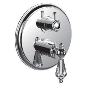 "1/2"" Thermostatic Trim With 3-way Diverter Trim (shared Function) in Unlacquered Brass"