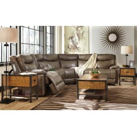 Zaiden 6-Pc Sectional LAF Zero Wall Recliner w/ Console, Armless Chairs, Wedge and RAF Recliner - Quarry Collection