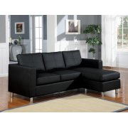 BLACK PU REV. CHAISE SECTIONAL Product Image