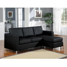 BLACK PU REV. CHAISE SECTIONAL
