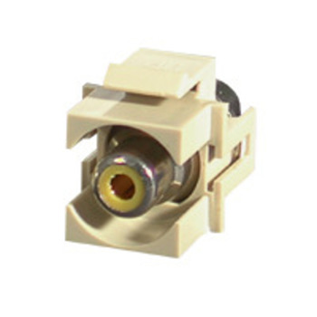 Snap-In Yellow RCA F/F Keystone Insert Module - Ivory
