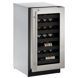"""U-Line18"""" Wine Refrigerator With Stainless Frame Finish And Right-Hand Hinge Door Swing (115 V/60 Hz Volts /60 Hz Hz)"""