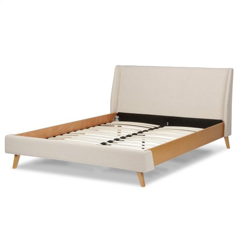 Palmer Complete Upholstered Platform Bed and Bedding Support System with Wingback Panels and Light Oak Wood Side Rails, Flax Finish, Queen