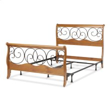 Dunhill Complete Wood Bed and Steel Support Frame with Sleigh Style Panels and Metal Autumn Brown Swirling Scrolls, Honey Oak Finish, Queen