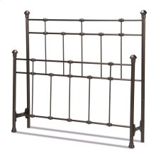 Dexter Metal Headboard and Footboard Bed Panels with Decorative Castings and Finial Posts, Hammered Brown Finish, Queen