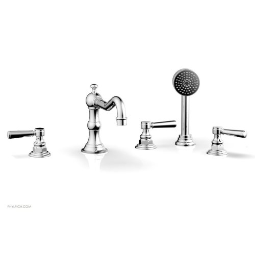 HENRI Deck Tub Set with Hand Shower with Lever Handles 161-49 - Polished Chrome