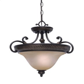 Jefferson Semi-Flush (Convertible) in Etruscan Bronze with Antique Marbled Glass