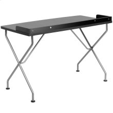 Black Computer Desk with Silver Metal Frame