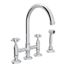 Polished Chrome Italian Kitchen San Julio Deck Mount C-Spout 3 Leg Bridge Kitchen Faucet With Sidespray with Cross Handle