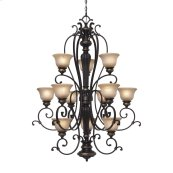 Jefferson 3 Tier - 12 Light Chandelier in Etruscan Bronze with Antique Marbled Glass