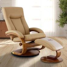 Hamar Recliner and Ottoman in Cobblestone Top Grain Leather