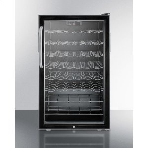 """SummitCommercially Listed 20"""" Wide Wine Cellar for Built-in Use, With Stainless Steel Cabinet, Lock, Digital Thermostat and Towel Bar Handle"""