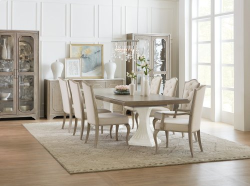 Dining Room Modern Romance Double Pedestal Dining Table w/2-22in leaves