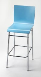 Enhance your kitchen, bar or work space with this modern bentwood barstool. Its high-back rectangular seat is finished in sky blue with a chrome plated steel tube base and footrest. Product Image