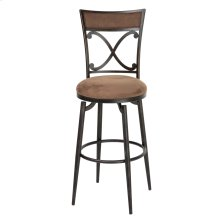 Montgomery Swivel Seat Bar Stool with Blackened Bronze Finished Metal Frame, Detailed Seatback and Cocoa Microfiber Upholstery, 30-Inch Seat Height