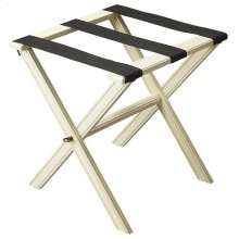 Perfect for any bedroom or walk-in closet, this luggage rack is ready when needed. The Cottage White finished solid wood frame features elegant carving on the stretcher base and legs with three heavy duty cloth straps. Folds away for convenient storage.
