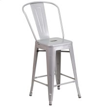 24'' High Silver Metal Indoor-Outdoor Counter Height Stool with Back