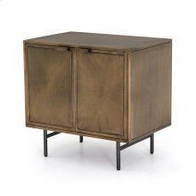 Aged Brass Finish Sunburst Cabinet Nightstand