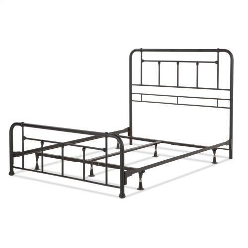Baldwin Complete Metal Bed and Steel Support Frame with Detailed Castings, Textured Black Finish, Full