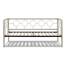 Astoria Complete Metal Daybed with Circle Design Panels and Euro Top Deck, Champagne Finish, Twin