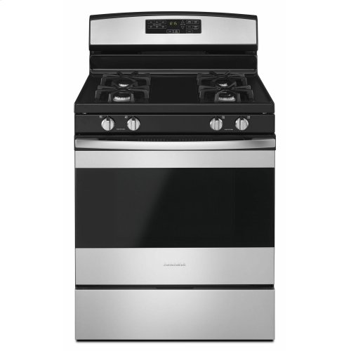 30-inch Gas Range with Self-Clean Option - Black-on-Stainless