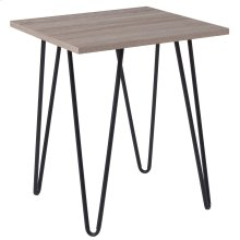 Driftwood Wood Grain Finish End Table with Black Metal Legs