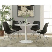 Lowry Mid-century Modern White Round Dining Table