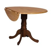 Round Dropleaf Pedestal Table in Cinnamon & Espresso Product Image
