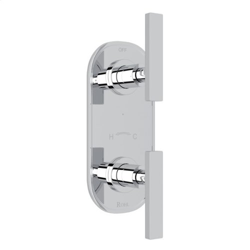 """Polished Chrome Pirellone 1/2"""" Thermostatic/Diverter Control Trim with Metal Lever"""