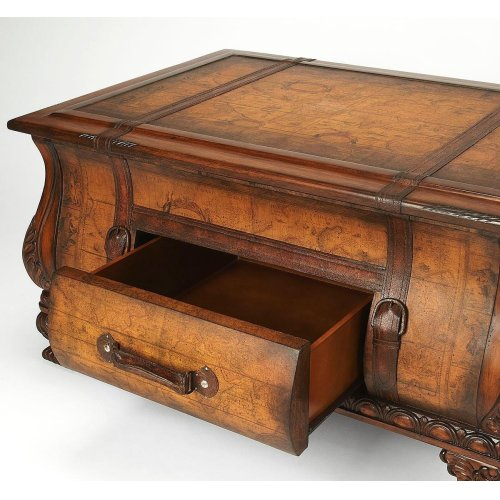 Old world map glazed and laquered surface. Geunine leather appointments. Working drawer.